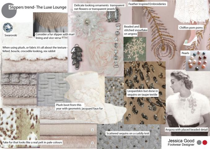 mood board for slipper design project